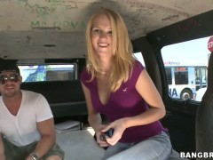 Tempting blonde Alli May enjoys ride in bang bus