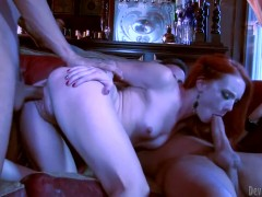 Redhead pornstar Dani Jensen owned by two dicks